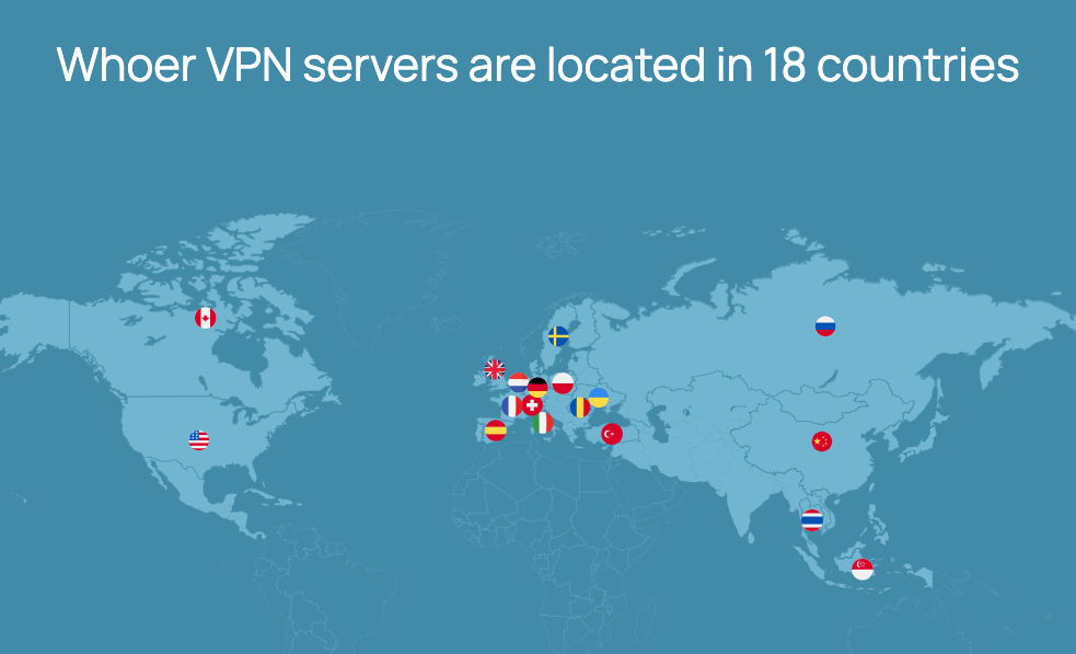 Whoer VPN server locations on a map