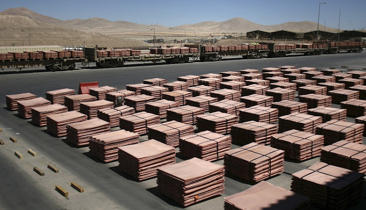 Sheets of copper cathode are seen at a copper cathode plant inside the La Escondida copper mine near Antofagasta city, north of Santiago in this March 31 2008 file photo. Picture: REUTERS