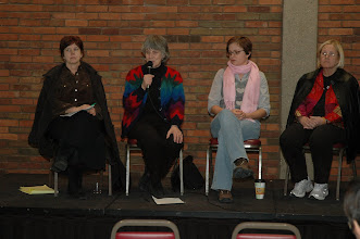 Photo: Augsburg College, Feb 20, 2009  Mary Beaudoin (WAMM), State Rep. Karen Clark, student, Col. Ann Wright (left to right)