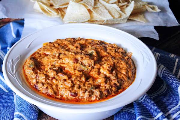 A Big Bowl Of Crock Pot Taco Dip.