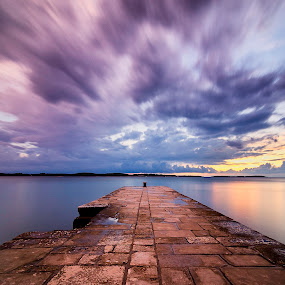 Cloudy sunset by Andrej Folo - Landscapes Sunsets & Sunrises ( clouds, cloudy day, purple, colorful, colors, clouds and sea, sea, cloudscape, stone, seascape, landscape, dock, blue, sunset, cloudy moment, landscape photography, cloudy, long exposure, longexposure,  )