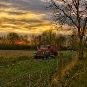 Hard Days Work. by Jim Dawson - Novices Only Landscapes ( #farmtruck #sunset #landscape #field #farm #trees #nikon #kentucky )