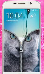 Blue Cat Lockscreen:Blue Cute Cat Zipper 2017 - náhled