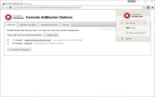 Comodo AdBlocker chrome extension