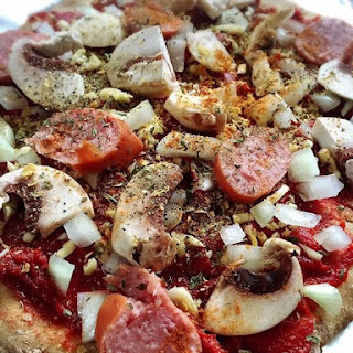 Turkey Sausage Mushroom Pizza with Sourdough Crust.