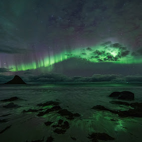 Aurora beach by Benny Høynes - Landscapes Beaches ( aurora borealis, northern lights, landscapes, beach, sony alpha, nightscape, norway )