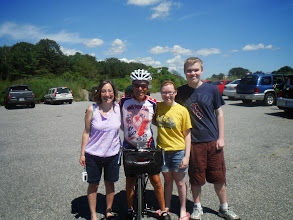 Photo: 20130812 Day 55 Manchester NH to Portsmouth NH  We were greeted by friends and family.  From left Julie Cryer (Ed's daughter who lives in Connecticut, Ed, his granddaughter Sarah, and grandson Matthew.