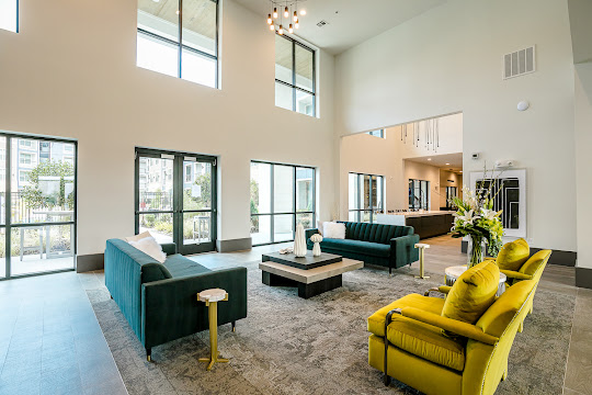 Clubhouse with high ceiling and modern furniture
