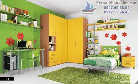 thiết kế phòng ngủ bé trai xanh lá