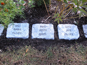 Photo: Mary & John Filgate donated 100 peony's for the new gardens.  These are their grandchildrens stones in appreciation.  They are located in the new Peony Garden.