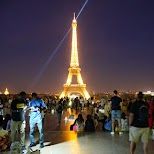 Night view of the Eiffel Tower in Paris in Paris, Paris - Ile-de-France, France