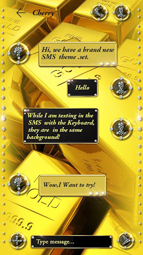 (FREE) GO SMS GOLDⅡ THEME Screenshot