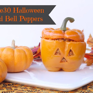 Whole30 Halloween Stuffed Bell Peppers.
