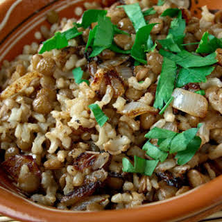 Lentil And Rice Pilaf With Browned Onions..
