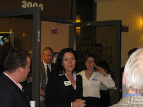 Photo: Karen Diebel speaking at the Mercantile Capital Corporation's Open House www.504Experts.com