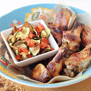 Slow Cooker Ginger Honey Wings with Baked Carrot & Zucchini Chips