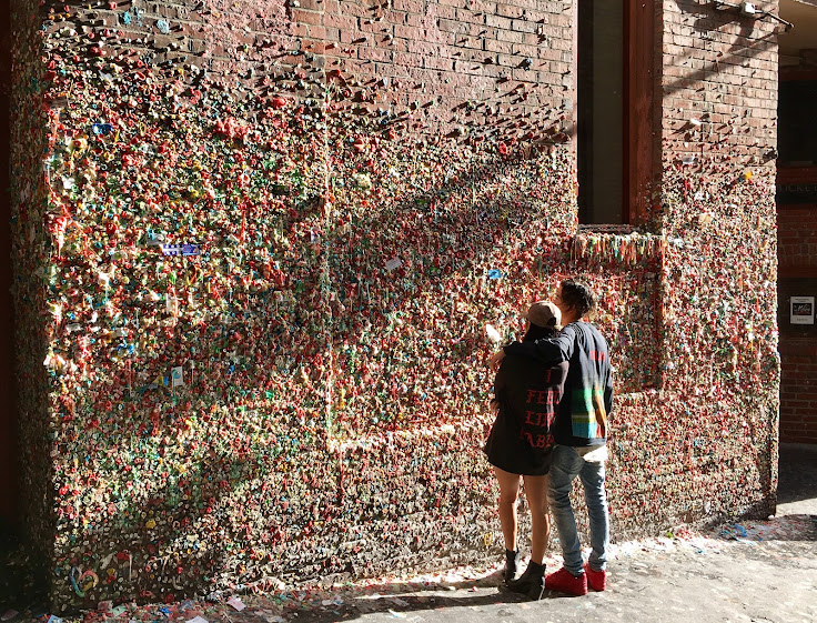 A close-up view of the gum wall.