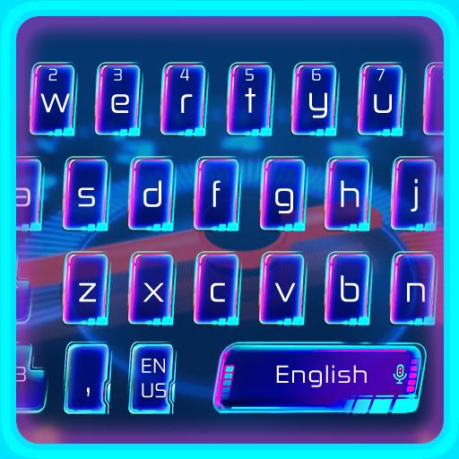 Blue Neon Speedometer Keyboard