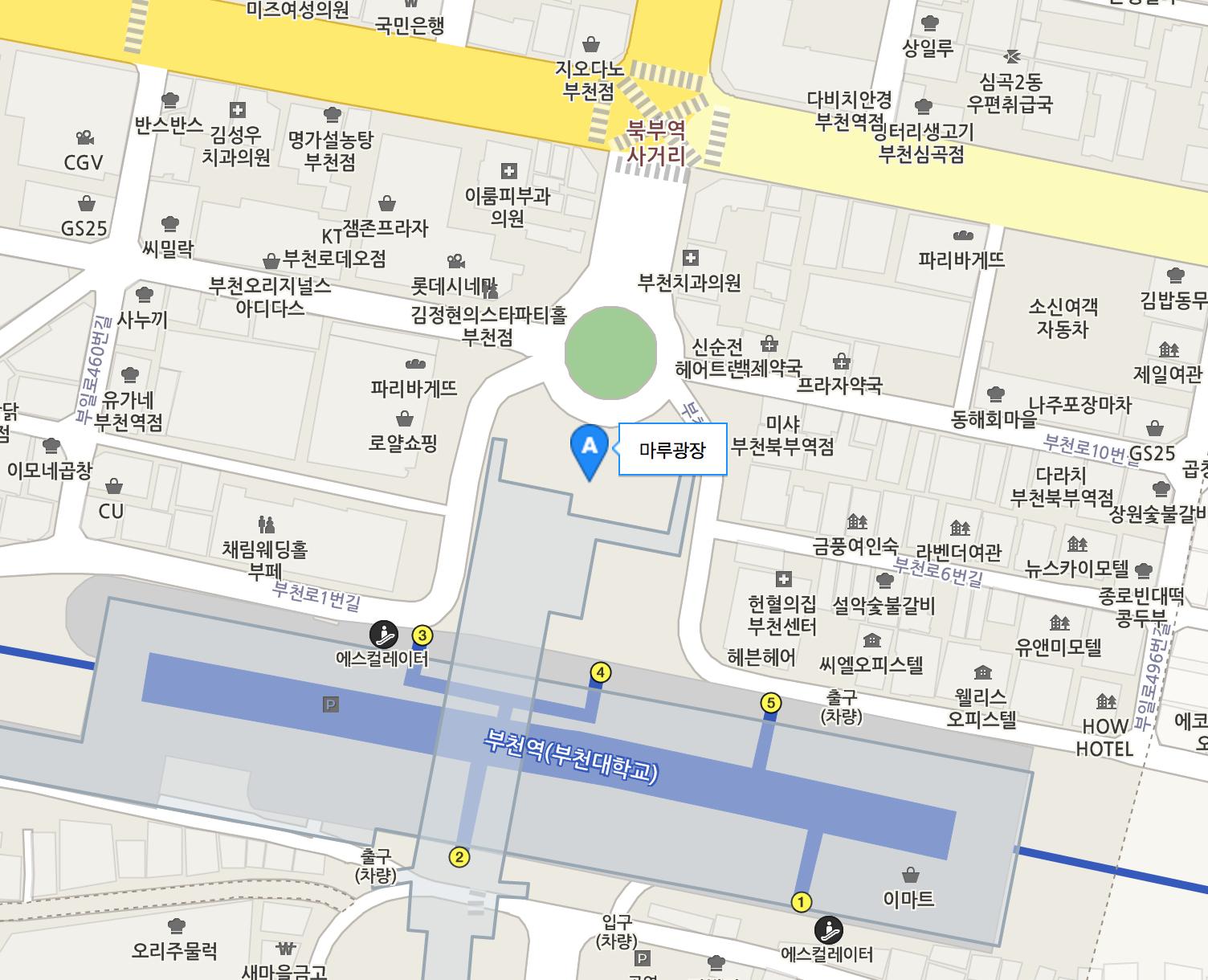 부천역(1호선)에서 4번출구로 나오시면 바로 보이는 부천마루광장 입니다.