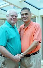 Photo: Gay Ceremony - married in the privacy of their home.  http://WeddingWoman.net