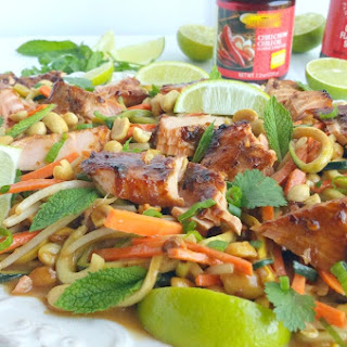 Salmon and Zucchini Noodles with Spicy Peanut Sauce.