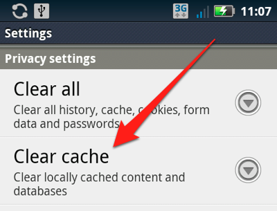 Clear Cache On Android