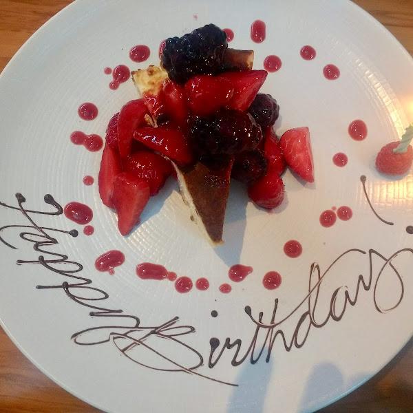 Happy Birthday gluten-free cheesecake!