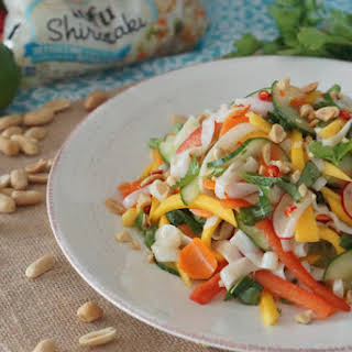 Asian Shirataki Noodles with Low Carb Mango & Pickled Vegetable Salad.