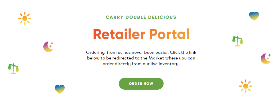 screenshot of double delicious retailer market landing page.