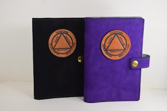 Photo: P0422 (left $39.95) Chrome Tanned Black color Suede leather Portable Paperback Big Book (Medallion Holder and Snap & Strap)   P0422 (right $39.95) Chrome Tanned Purple color Suede leather Portable Paperback Big Book (Medallion Holder and Snap & Strap)