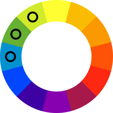 Color wheel with black spots on light blue, green, and lime green.