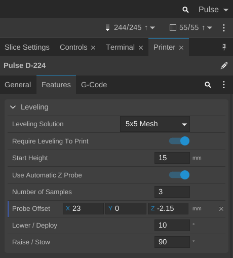 The page within MatterControl where the Z-Offset is stored. Take note that this value will be different for your individual Pulse