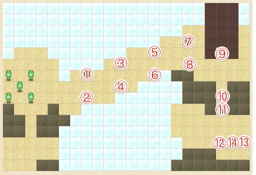 魔法の軌跡_モンスターレベル40のキャラ配置マップ