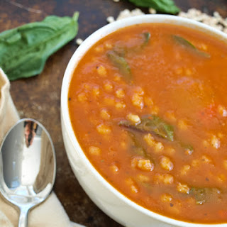 Tomato Barley Soup with Baby Greens