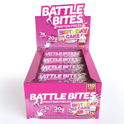 Battle Bites Protein Bars 12 x 62g - Birthday Cake
