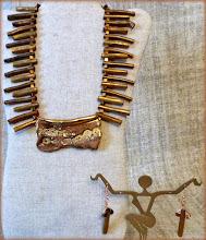 Photo: #170 GOLDЕN COAST ~ ЗОЛОТЕ УЗБЕРЕЖЖЯ Ceramic pendant, bamboo coral, gold plate, 14K gold vermeil $80/set N/A