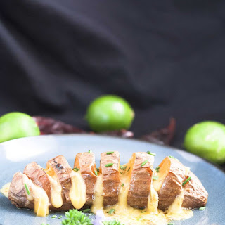 Hasselback Sweet Potatoes with Mexican Flavors.