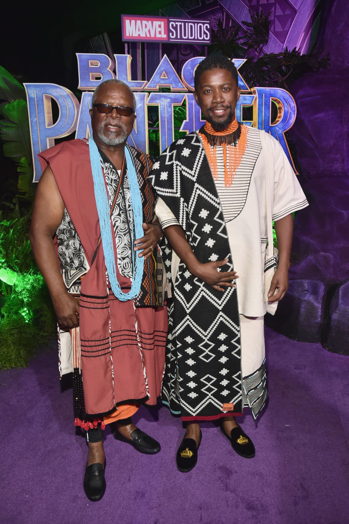 Actors John Kani (L) and Atandwa Kani wore MaXhosa by Laduma shawls to the world premiere of 'Black Panther'.