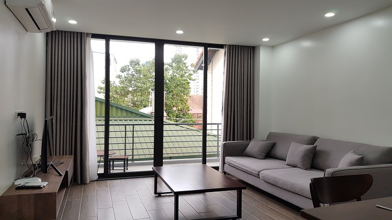 Modern 1 – bedroom apartment with balcony in To Ngoc Van street, Tay Ho district for rent