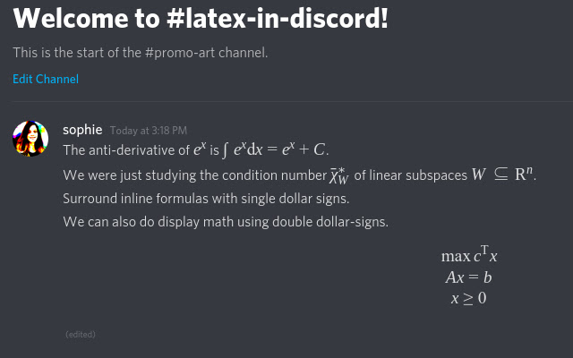 LaTeX in Discord