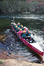 Photo: We're off in our pink boat  photo by: Ave Gassman of the Kununurra Dragon Boat Club