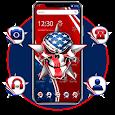 American Flag Horror Skull Theme