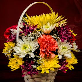 Flower Basket by Lawrence Ferreira - Flowers Flower Arangements ( colorful flowers, bouquet, spring flowers, floral bouquet, floral photography, floral design, assortment, floral basket, basket, florals, flowers, flower basket, florist, flowers photo,  )