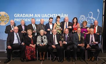 Photo: 6 February 2015; Uachtarán Chumann Lúthchleas Gael Liam Ó Néill with all the award winners. Croke Park, Dublin Picture credit: Paul Mohan / SPORTSFILE *** NO REPRODUCTION FEE ***