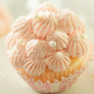 White Chocolate Pink Champagne Cupcakes.