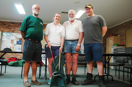 Narrabri snakecatcher Harvey Black, second from right, with three VRA colleagues who have joined him - Ian Thompson, Megan Davies (holding a jigger stick used to get the snake into the bag) and Jock Smith.