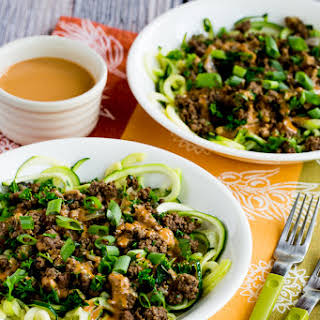 Middle Eastern Ground Beef Zoodles with Peanut-Tahini Sauce.