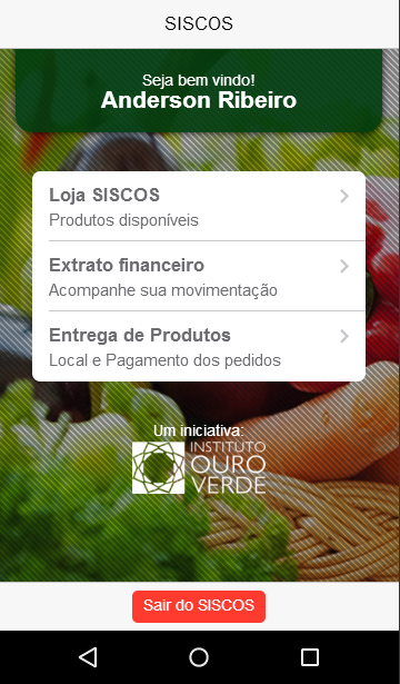 SISCOS Mobile: captura de tela