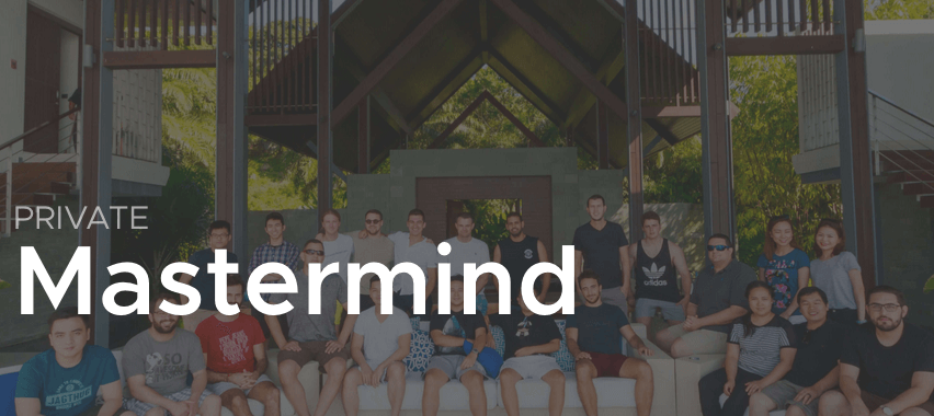 super tan brothers ecommerce mastermind logo with a group of people sitting together in a beautiful outdoor space
