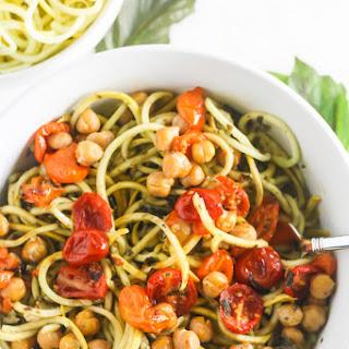 Squash Noodles with Kale Arugula Pesto and Roasted Chickpeas